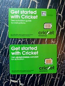 2 CRICKET WIRELESS NANO SIM Cards • GSM 4G-LTE & 5G • NEW & NEWEST VERSION CARDS