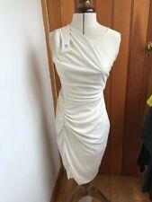halston heritage cream rouche wrap bodycon dress uk 10 size 2 bnwt