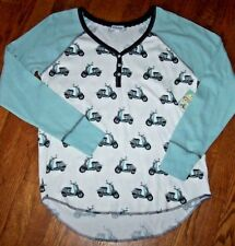 Nwt Pj Salvage Ivory/Mint Green Mopeds~Scooters Thermal Pajama/Lounge Top M Cute