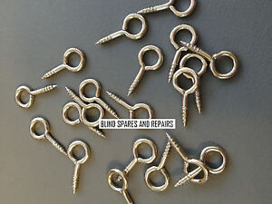 100 X PLATED SCREW EYES, 20mm long x 9mm outside diameter Ring **FREE POSTAGE**