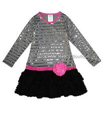 New Girls Boutique Peaches n Cream 12 Silver SEQUIN Chenille Dress Christmas $88