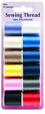 12 Reels Of Mixed Colour Selection Of Sewing Thread Cotton - H998