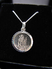 "SOLID SILVER 925 NECKLACE MENS BOYS ST CHRISTOPHER 18"" CHAIN 1.8 DIAMETER BOXED"