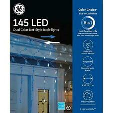 GE 145 LED Dual Color Net Style Icicle Lights Color Choice 8 in 1 White/Blue NEW