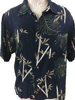 Puritan mens Hawaiian shirt size XL 46 48 rayon bamboo leaves green black