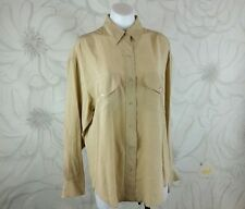 Career Womens Sz M Camel 100% Silk Button Down Blouse Brand L Sport Pockets EUC
