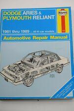 DODGE ARIES & PLYMOUTH RELIANT 1981-1989 Haynes Repair Manual #723 '90