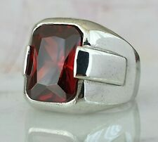 Turkish Ottoman Red Garnet Gemstone Solid 925 Sterling Silver Ring Gemstone