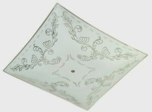 """Westinghouse Square White w/Floral Design Bent Glass Fan Fixture Shade 12"""" 81807"""