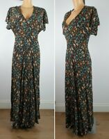 NEW Yessica Floral Print Maxi Dress BLACK Summer Holiday Dress Size 6 - 18