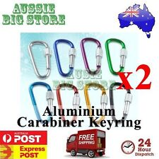 2 x Carabiner Clip Key Ring Holder Chain Cable Hiking Hook Lock Camping Screw