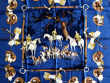 RARE 1950 Ed Auth Vintage Hermes Scarf 'Chasse a Cour' 100% Silk Carre 80cm