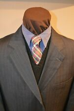Kilburne & Finch mens 3btn dark gray beaded striped suit sz 46Long pants 38x29