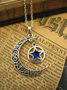 Pentacle Moon Necklace Pagan Wicca Fantasy Silver Pendant Gothic Magic Star