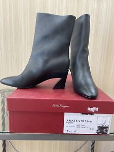 Ferragamo Boots Size71/2 Blkcalf With Blk Leather Brand New