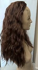 chestnut brown wavy curly frizzy puffy half head long hair wig fancy dress new