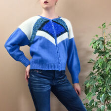 Vintage 90's Grunge Loose Fit Wool Blend Short Blue Jumper Sweater Small UK 8 10