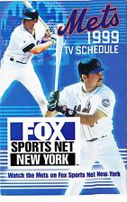 """1999 NEW YORK METS AND YANKEES BASEBALL TV SCHEDULE (3-1/2"""" X 5-1/2 """" FOLDED)"""