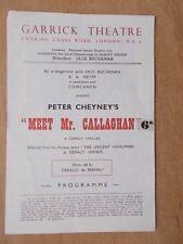 GARRICK THEATRE PROGRAMME 1950's MEET MR CALLAGHAN - WITH TICKETS