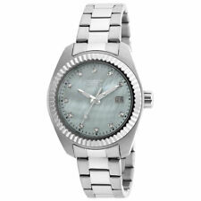 Invicta 20351 Lady's White MOP Dial Steel Bracelet Crystal Watch