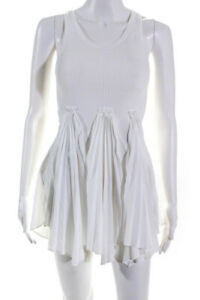 10 Crosby Derek Lam Womens Ribbed Accordion Pleat Tank Top White Size Small