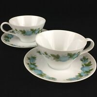 2 VTG Cups and Saucers Noritake Blue Orchard Cookin Serve Fruit 6695 Japan