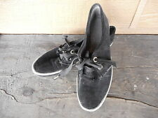 Vintage 60's Womens Shoes Black Velour KEDS ? Oxford Tennis Sneaker Shoe Used