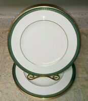 "Set of 4 Minton Green Park 5777 10.5"" Dinner Plates Turquoise Gold Border EXC"