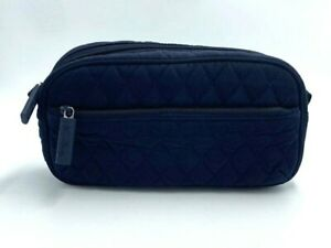 Vera Bradley Trip Kit Navy Blue Microfiber Cosmetic Bag Quilted Zip Closure