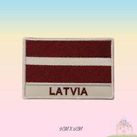 Latvia National Flag With Name Embroidered Iron On Patch Sew On Badge Applique