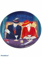 "4 SANGO Cafe Americana Oval Dinner Plates Colorful 10 1/2"" X 11 1/4"" Pre-owned"