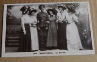 """Postcard WW1 Military Humour The Territorial """" On Parade """" Real photo unposted"""