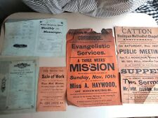 Collection of Original 1901 old antique letterpress posters for churches Hexham