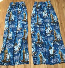 Vintage Star Wars 2 Panel Curtains Pleated Pair Set 1980s Fabric Sewing Material