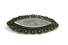Antique Victorian Sterling Silver Almond Shaped Decorative Pin Brooch
