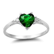 .925 Sterling Silver Ring size 3 CZ Heart cut Emerald Green Midi Kids New x22