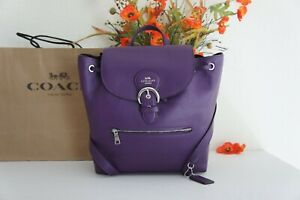 NWT Coach C5648 Kleo  Backpack in Refined Pebble Leather Dark Amethyst $428