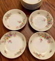 """Vtg Meito China Dessert Bowls Ivory Floral Gold Rim Japan 5.5"""" Set Of 4"""