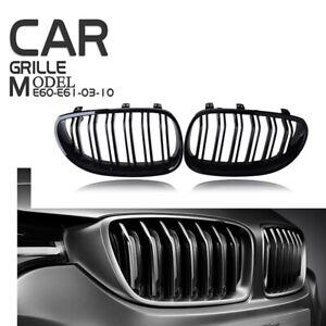 For 03-10 BMW E60 Sedan E61 Touring Gloss Black Front Kidney Grille Cover Trim