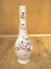 Vintage Pink Ucagco Ceramics Japan Porcelain Bisque Vases With Blue/Pink Roses