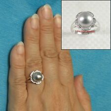 14k White Gold Natural Silver Tone Tahitian Pearl &10 Diamonds Cocktail Ring TPJ