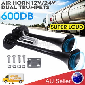 2-Trumpet 12V 24V Universal 600DB Super-loud Air Horn Car Van Boat Train Truck