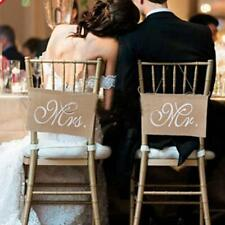 1pair Wedding Hessian Chair Sash Mr Mrs Banner Burlap Rustic Party Decoration