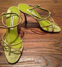 Manolo Blahnik Megara Lime Green Snakeskin Womens Size 38