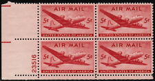 US USA Sc# C32 MNH FVF PLATE # BLOCK  DC-4 Skymaster Airplane