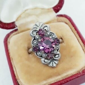 VINTAGE ART DECO SPARKLING GLASS AMETHYST INTRICATE SIZE N 1/2 COCKTAIL RING