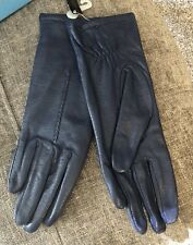 Nwt Vintage Michelle Stuart Navy Blue Leather Women's Lined Gloves Size Small S