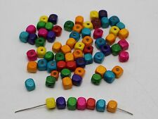 500 Mixed Color Wood Cube Beads 6X6mm~Wooden Spacer