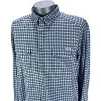 Lucky Brand Mens Classic Fit Shirt Button Up Blue Plaid Short Sleeve Cotton XL