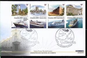 URUGUAY 2012,SHIPS CRUCERS,LIGHTHOUSE ,FDC YV 2579-82